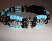 Turquoise  Beaded Dog Collar, Martingale Chain or Clasp closure, option of colors..FREE SHIPPING USA. $55.00, via Etsy.