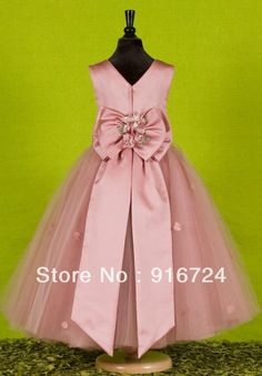 Actual Images Satin Tulle Ball Gown Ankle-Length Flower Girl Dress Custom Made