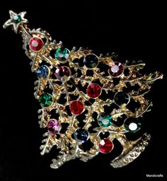 Brooch Christmas Tree Figural Pin Openwork Colorful Rhinestone Balls Gold Tone
