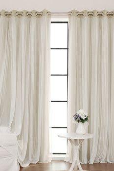 Best Home Fashion Inc. Grommet Romantic Thermal Blackout Window Curtain Pair - Set of 2 - Beige
