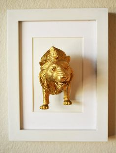 Lion Artwork/ 5x7/ 3D art/ Gold Plastic Lion and by Plastidermy, $30.00