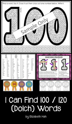 There are over 120 Dolch words for students to find, read, say and write in this word find. When they've reached 100 (or give them an award! 100 Days Of School, School Holidays, School Stuff, Daily 5, Math Classroom, Classroom Ideas, Reading Intervention, Reading Test, Abc Phonics