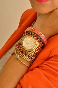 Gold and Tangerine. Watch, bracelets, bangles.