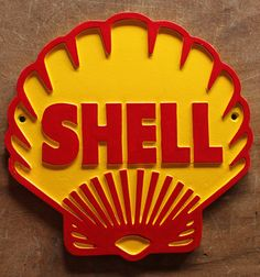 Vintage Shell Garage Sign A wonderful Vintage Shell Garage sign reproduced from an original authentic pattern in cast aluminium hand painted original colours using tradit Tin Signs, Metal Signs, Company Logos And Names, Brass Kitchen Handles, Shell Gas Station, Pompe A Essence, Bug Hotel, Garage Signs, Enamel Paint