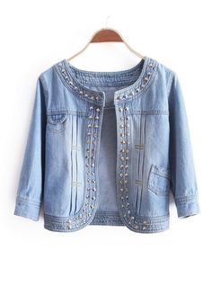 Women Autumen New Style Fashion Cute Korea Slim Scoop Casual Rivet Jeans Coat M/L Diy Jeans, Denim Fashion, Fashion Outfits, Style Fashion, Diy Clothes, Clothes For Women, Recycled Denim, Mode Style, Jean Outfits