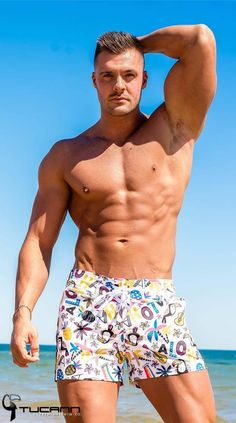 Tucann Men Shorts Beach Board Surf Swimwear Quick Dry Summer Trunks White Camo