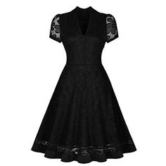 Women's+Vintage+Solid+Swing+Dress+,+V+Neck+Knee-length+Polyester+–+USD+$+19.99
