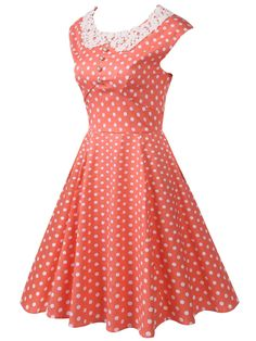 Pink 1950s Polka Dot Swing Dress 30cd1df720