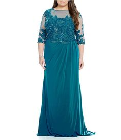 MGNY Madeline Gardner New York Plus Illusion Embroidered Applique Gown