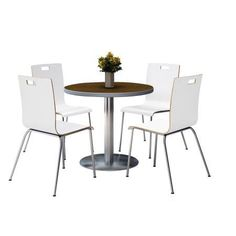 Kfi Seating Round 42 Inch Dia Pedestal Breakroom Table With 4 White Stacking Bentwood Chairs