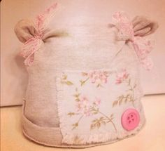 Upcycled newborn prop hat I made with vintage lace