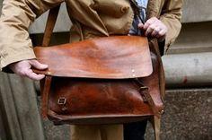 Leather messenger bag for gophergod of blue eyes and dreadlock fame