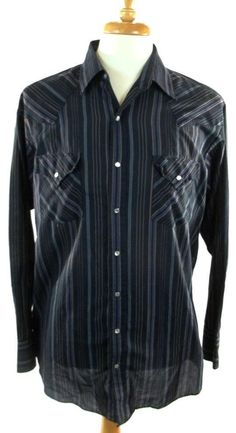 Plains Pearl Snap Shirt Multi-Color Striped Long Sleeve Mens Size LT Large Tall #Plains #PearlSnap