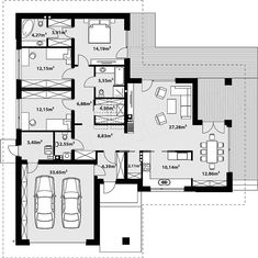 Projekt domu Arteo 136,93 m2 - koszt budowy - EXTRADOM House Plans Mansion, Bedroom House Plans, Dream House Plans, Single Storey House Plans, One Storey House, Architectural Design House Plans, Home Design Floor Plans, Modern Family House, Modern House Plans