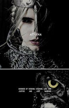 """Athena: """"I begin to sing of Pallas Athene, the glorious goddess, bright-eyed, inventive, unbending of heart, pure virgin, saviour of cities, courageous, Tritogeneia."""" #myth"""