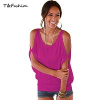 Tofashion 2016 summer women t-shirts Ladies loose candy color tops and tees Comfortable Elastic tops plus size XL