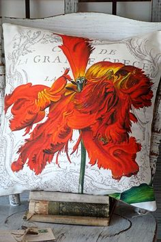 Cotton and Burlap Pillow Burlap Pillow Cover Red by JolieMarche, $35.00