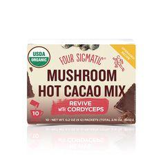 Four Sigmatic Mushroom Hot Cacao Mix With Cordyceps I Sassy Organics Cacao Benefits, Mushroom Benefits, Mushroom Tea, Organic Cacao Powder, Cacao Chocolate, How To Increase Energy, Helpful Hints, Stuffed Mushrooms, Guilt Free