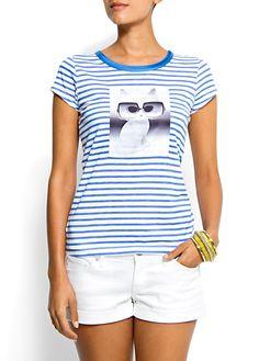 MANGO SS12  Camiseta estampado rayas y foto gatito  15,99€ en rebajas 7,99€  Color: azul  Ref. 63208058