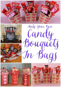 A very inexpensive container for a candy bouquet is a decorative bag. Just think of all the pretty, fun, cute bags out there that would be perfect to give a ready-made theme for your candy bouquet. The bags in this post are Valentine-related but Candy Boquets, Candy Bar Bouquet, Valentines Day Baskets, Valentine Day Crafts, Valentine Gifts For Teachers, Valentines Sweets, Husband Valentine, Printable Valentine, Kids Valentines