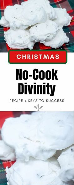 Divinity is a classic holiday candy that many people remember from their childhood but is not often made these days because it has a reputation for being finicky. This Easy No Cook Divinity recipe takes all the guesswork out of it and it turns out perfectly every time! | No Cook Can't Fail Divinity | No Cook Divinity using Frosting Mix | No Cook Divinity Candy Recipe | Christmas Candy Recipes | Christmas Divinity | #ChristmasCandy #Divinity #CandyRecipes