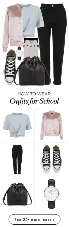 """""""back to school with Pusheen """" by denulina on Polyvore featuring Topshop, T By Alexander Wang, New Look, Converse, Daniel Wellington, Pusheen, MANGO, BackToSchool, contestentry and PVxPusheen"""