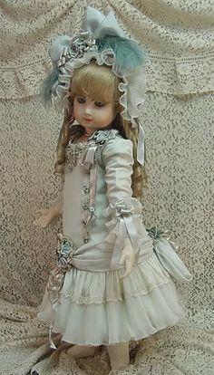 "Doll Dress for 27"" aqua silk ♥ Dollightfully Yours ♥ by Cheryl Imbornone"