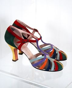 1920's Colorful-Rainbow Suede Art-Deco Flapper Evening Shoes at 1stdibs