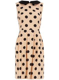 Sunset and Black Polka Dot Sleeveless Pleated Pencil Dress with Black Peter Pan Collar