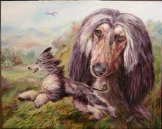 Race with the wind - AfghanHound. Oil by alartstudio