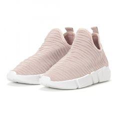 Pantofi sport slip-on de dama roz din țesătură tehnică High Heels, Slip On, Elegant, Sneakers, Casual, Sport, Fashion, Sash, High Heels Mules