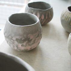 Mini ceramic bud-vase experiments, un-fired, by A Alicia www.aalicia.bigcartel.com