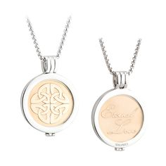 Irish Coin Pendant - Celtic Knot Coin Gold Plated Pendant. This rhodium plated necklace comes with a Gold Plated Celtic Knot Coin coin and is interchangeable so that you can slot in another of these exquisitely designed coins to suit any occasion. Each coin is reversible and features an Irish symbol one side and sentiment or blessing on the other. Made by Solvar Jewelry, Dublin, Ireland. Comes on a 26 inch chain in a presentation box. Measures approx. 1.3 inch diameter.