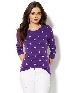 Shop Waverly Scoopneck Sweater - Shimmer Polka Dot. Find your perfect size online at the best price at New York & Company.