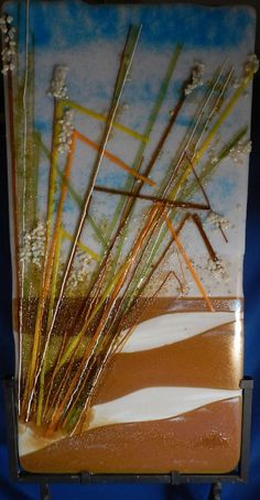 Beach grass to the sea in fused glass by ARTSABLAISESTUDIO on Etsy, $235.00