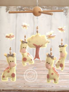 Giraffe Baby Mobile, Yellow & Pink Baby Girl #NurseryDecor by #LollyCloth