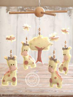 Giraffe Baby Mobile, Yellow & Pink Baby Girl #NurseryDecor by #LollyCloth