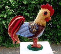 I love this rooster made from recycled wool sweaters!  There's no tutorial, but a good imagination might find some inspiration here.