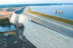 Saluda Dam, near Columbia, SC. A major remediation project to protect Columbia from a potential dam breach caused by a major earthquake. (Based on the Charleston Earthquake of 1886) Consists of a roller-compacted concrete dam and rock-filled embankment berm.