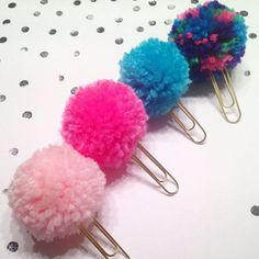 56 Easy To Make Craft Ideas With Pom Pom - Planner Puff Pom Pom Bookmark Paperclip Erin Condren Kikkik Filofax Color Crush - Kids Crafts, Crafts To Sell, Diy And Crafts, Craft Projects, Arts And Crafts, Craft Ideas, Homemade Crafts, Kids Diy, Preschool Crafts