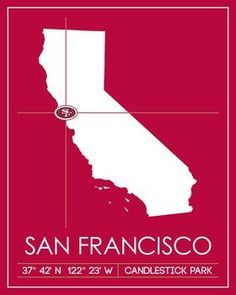 San Francisco Map Art Picture at San Francisco Photo Store Sf Niners, Forty Niners, Football Love, Football Stuff, 49ers Players, Candlestick Park, Professional Football Teams, Photo Store, Sacramento Kings