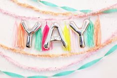 Items similar to YAY Balloon Banner Gold Silver Blue Pink Rose Gold Garland Balloon Mylar Self Sealing Birthday Party Photo on Etsy Ballon Banner, Balloon Garland, Balloon Decorations, Mylar Letter Balloons, Number Balloons, Custom Balloons, Wedding Photo Props, Floral Supplies, Party Packs