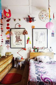 the boo and the boy: eclectic kids' room with lots of color, texture and spirit. The furnishings are few but gorgeous, the child's artwork is displayed, the window is uncovered for flights of imagination and there's still room to play. Girl Room, Girls Bedroom, Bedroom Ideas, Bedroom Walls, Indie Bedroom, Bedroom Decor, Kid Bedrooms, Master Bedroom, Ideas Dormitorios