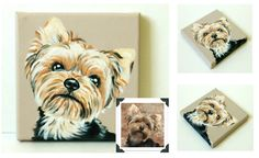 Custom Dog Portrait / Custom Pet Portrait / Custom Portrait -1 Pet - Close-Up Solid background (6x6x0.75inch) Original Painting on Canvas