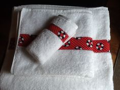 Sew your favorite ribbon (not wired) theme or style onto any towel set....so pretty and so custom!