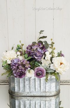 FALL French Country Decor, Purple Cottage Flower Arrangement in Galvanized Pail, Farmhouse Home Decor with Hydrangea and Peony – farmhouse decor flowers Wood Floor Pattern, Silk Flower Arrangements, Peony Arrangement, Woodland Nursery, Woodland Animals, Animal Nursery, Summer Flowers, Flowers Garden, Month Flowers