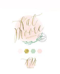 Custom pre-made logo - logo design - calligraphy logo - logo - green leafs logo - gold foil logo - watercolor logo - freshmint paperie by FreshmintPaperie on Etsy https://www.etsy.com/listing/241242897/custom-pre-made-logo-logo-design