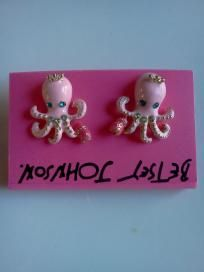 Betsey Johnson Pink Octopus Earrings W/Sapphire Eyes $14.95