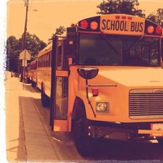 School buses.  My dad followed in his car behind the School bus on my first day of school.  Awww  fond memories.