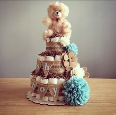 Oh Boy Rustic shabby chic diaper cake with bear and flower accents - http://www.babyshower-decorations.com/oh-boy-rustic-shabby-chic-diaper-cake-with-bear-and-flower-accents.html                                                                                                                                                                                 More